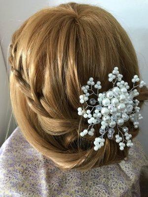 Pinza para el pelo blanco-color plata