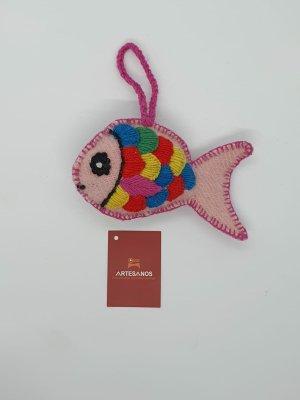 NEU Peru Anhänger Schlüsselanhänger Taschenanhänger Fisch  rosa