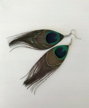 NEU Pfau Auge Feder Ohrringe Ohrstecker Peacock Boho Festival Ohrhänger Vintage