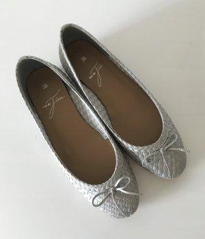 NEU Pia di Fiore Ballerina 38 Silber Metallic Leder Slipper Halbschuh Loafer