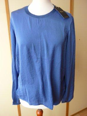 NEU Piazza Italia Tunika Shirt Gr. M S 38 blau Glitzer Schimmer Kunstseide schwarz meliert glänzend casual