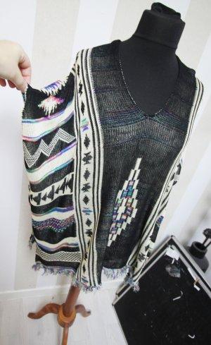 NEU Poncho Cape Fransen Muster Mix Design