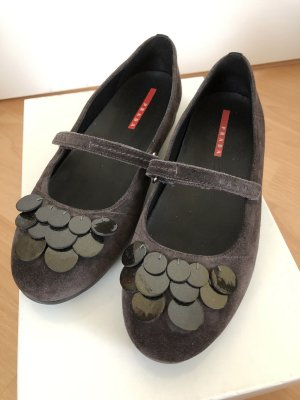 Prada Strappy Ballerinas dark brown