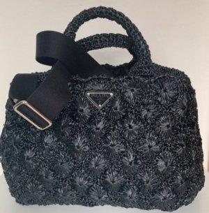 Neu Prada Tasche PRADA RAFIA ROMBI Basket bag tote bag raffia BLACK