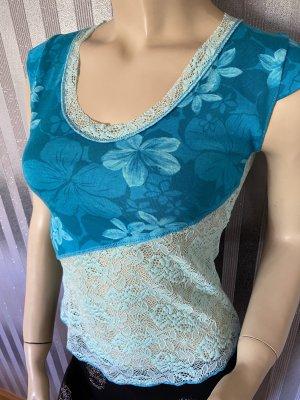 Promod Siateczkowa koszulka baby blue-turkusowy