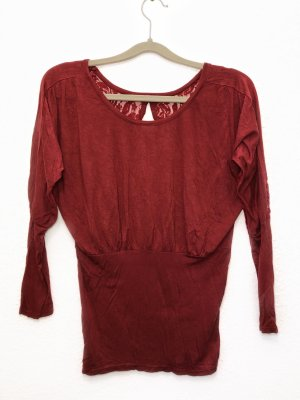 Neu Pullover Bluse Langarmshirt Hemd Spitze rückenfrei rot bordeauxrot Größe S Damen