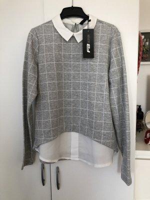 NEU Pullover/ Sweatshirt mit Bluse kariert grau/weiß Damen XS NEU