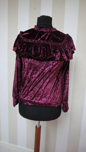 Sweter z okrągłym dekoltem czerwona jeżyna