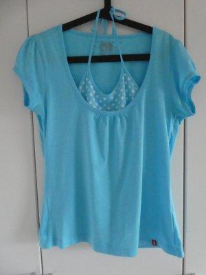 NEU – QS by s.Oliver – Shirt, hellblau mit weiß gepunktetem Innentop