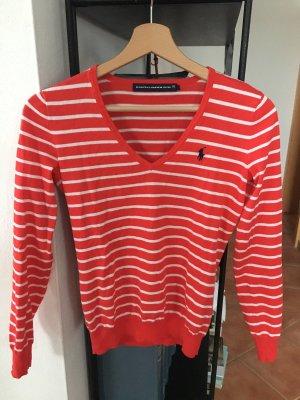 Neu Ralph Lauren Pullover v Ausschnitt rot weiß XS 34 36