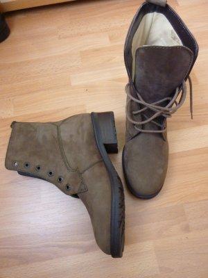 NEU Remonte Boots NP 72 Stiefeletten Gr. 36 evtl. 36,5 beige sand camel Schnürstiefel grunge Echtleder Rauhleder leicht Springerstiefel  Qualität