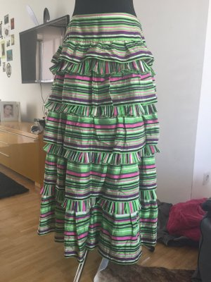 Rena Lange Broomstick Skirt green silk