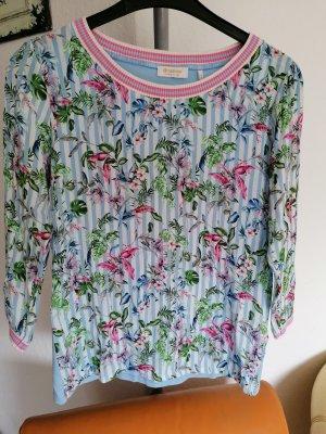 Neu Rich & Royal lässiger leichter Stoff Pullover Tunika Streifen Blumen Muster gr 38 M