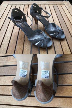 NEU Riemchen-Sandalen mit Absatz – Görtz17 – grau/silber – Größe 39 – NEU, ungetragen (NP 59,95 €)