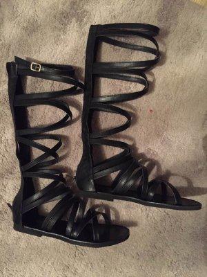 Neu Riemchen-Sandalen, schwarz