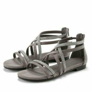 Neu! Riemchen Sandalen von Lascana in Grau mit Steinchen Gr.38
