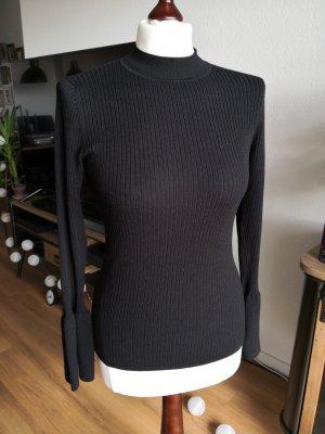 NEU Rippstrick-Pullover mit Volant-Ärmeln – Hallhuber – schwarz - M – NP60€ – ungetragen