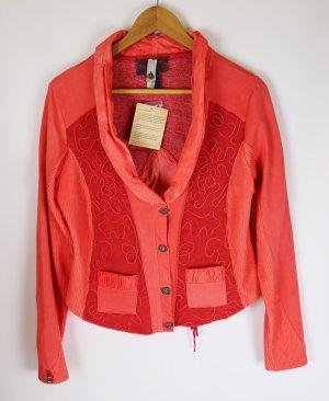 Neu Romantisch Sweat Jacke Blazer Tredy Größe M 40 Jersey Orange Mandarine Italy Look Schnürung Stickerei Stretch Antik Vintage  Materialmix
