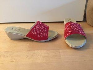 NEU | Rote Pantoletten mit Steinchen