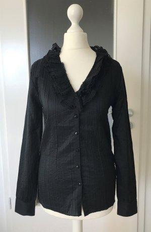 NEU Rüschen Bluse S 36 Schwarz Tunika Shirt Oberteil Hemd Barock Gothic Elegant