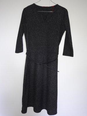 NEU s.Oliver Business Kleid Salz-Pfeffer-Optik ausgestellter Rock mit Gürtel Dreiviertel-Ärmel schwarz weiß Gr. 36