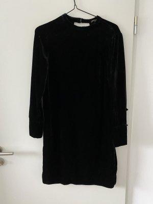 Massimo Dutti Vestido de manga larga negro Terciopelo