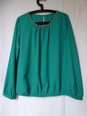 NEU: Schicke, türkise Bluse mit goldenem Ausschnitt