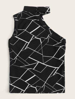 SheIn One Shoulder Top black-white