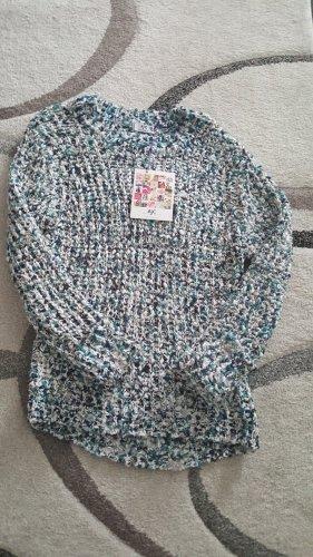 AJC Wełniany sweter niebieski-turkusowy