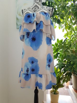 Parisian Flounce Dress cream-steel blue