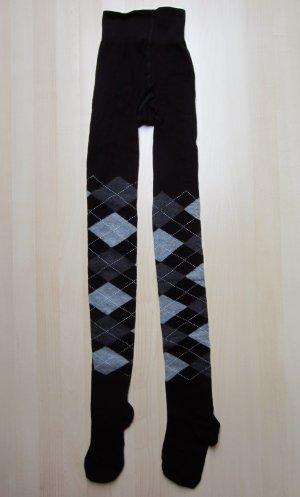 NEU: Schwarze Strumpfhose mit grauem Karo-Muster