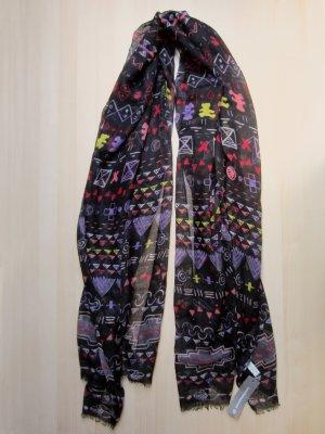 NEU: Schwarzer Schal mit buntem Muster