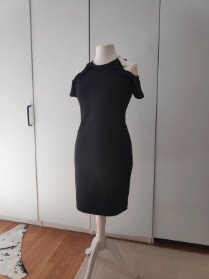 NEU Schwarzes Kleid Midikleid Schulterausschnitt Größe 38