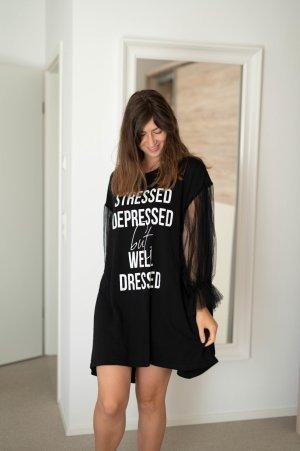 Sukienka dresowa czarny-biały