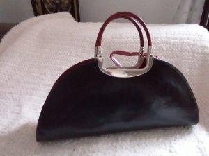 Neu sehr ausgefallene große Tasche Handtasche Schultertasche Henkeltasche Art Deco Style Echt Leder Schwarz Dunkelrot Metall Bügel
