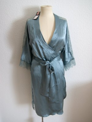 NEU Seidenkimono eisblau NP 180€, Kimono mit Spitze 100% Seide, Dessous Nachtwäsche