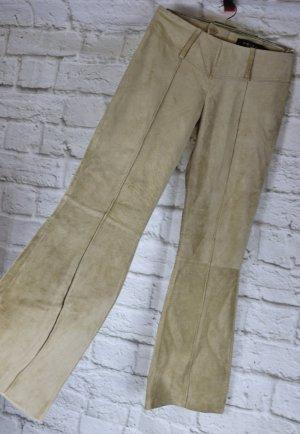 Neu Sexy Hippie Leder Hose Amisu Größe M 38 Hellbraun Beige Wildleder Pork Flared Boot Cut Low