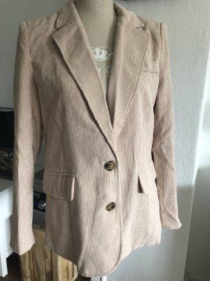 NEU SHEIN Kord Cord Blazer mit eingekerbtem Kragen Knöpfe beige Creme Gr. S 34 36