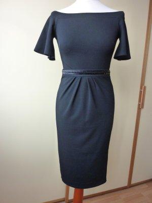 NEU Silver Bloom Kleid Gr. 34 32 schwarz Carmen-Ausschnitt Etuikleid kleines Schwarzes schulterfrei Asos Made in UK