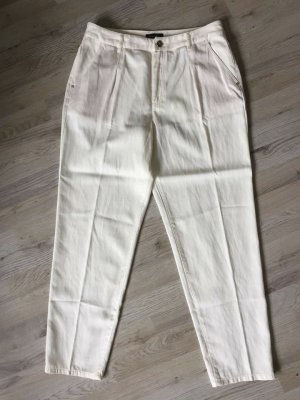 Massimo Dutti High Waist Trousers cream-natural white lyocell