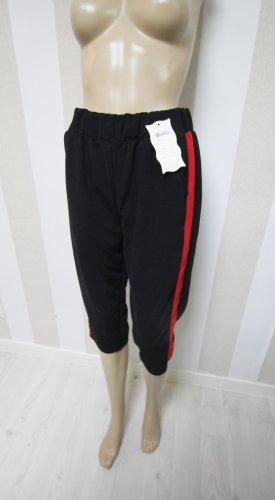 Pantalone a 3/4 nero-rosso