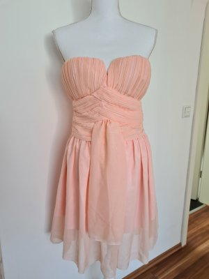 NEU Sommerkleid Partykleid Kleid Chiffon Kleid Minikleid schulterfrei in apricot 36 S