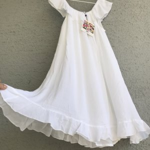 Neu Sommerkleid Sommer Ibiza Kleid Boho Hippie Ethno Baumwolle Viskose 100 % weiß