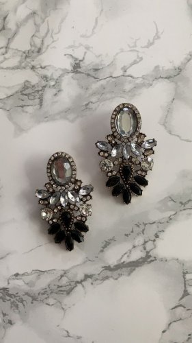 NEU Statement Ohrringe ohrstecker Silber farbend schwarz