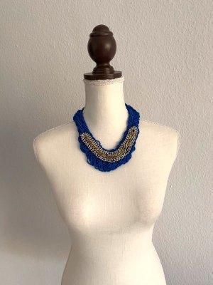 NEU Statementkette Statement Kette blau Gold Silber Modeschmuck