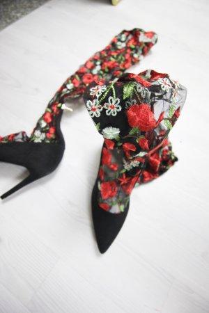 NEU Stiefel High Heels mit transparentem Stoff Detail