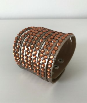 NEU Strass Armband Wickelarmband Lederlook Bronze Kristallen Boho Modeschmuck