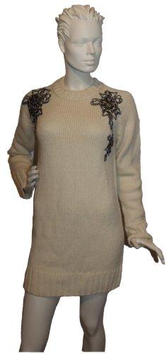 NEU: Strick-Pulloverkleid, creme-weiß mit lässigen Nieten-Applikationen von Pierre Balmain, Paris