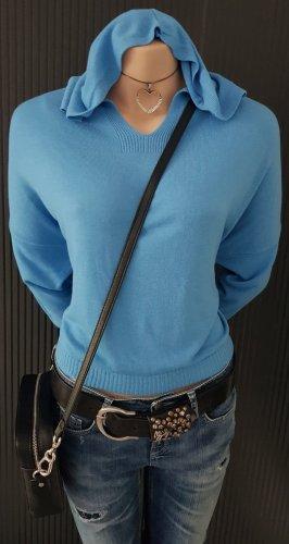 V Milano Maglione con cappuccio blu acciaio