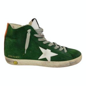 Golden Goose Sneaker alta verde Pelle